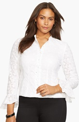 Lauren Ralph Lauren Ruffle Cuff Eyelet Cotton Shirt Plus Size White