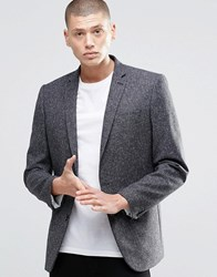 Farah Skinny Tweed Blazer With Fleck Charcoal Grey