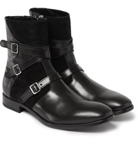 Alexander Mcqueen Buckled Leather And Suede Boots