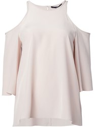 Tibi Cut Out Shoulder Blouse Nude And Neutrals