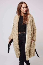 Aviation Beige Furry Coat With Pu Leather Waist Tie By Goldie