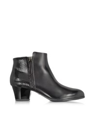 Hogan Black Leather And Python Print Ankle Boots