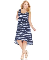 Jones New York Signature Plus Size Sleeveless Tie Dyed High Low Dress Navy Multi
