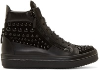 Giuseppe Zanotti Black Studded Ace High Top Sneakers