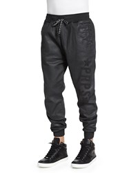 Prps Resin Coated Terry Fleece Jogger Pants Black Size Small