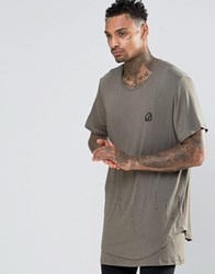 Criminal Damage Longline T Shirt With Dropped Hem Green