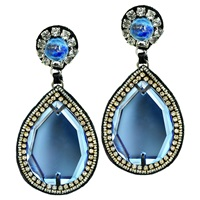 Ranjana Khan Glamorous Teardrop Earrings Blue