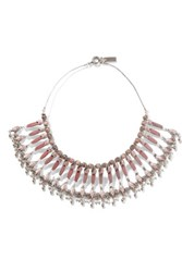 Etro Silver Plated Rhodonite And Mother Of Pearl Necklace Pink