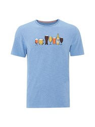 White Stuff Beer Glasses Graphic T Shirt Blue