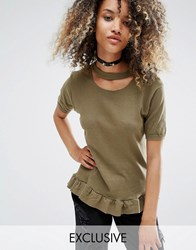Milk It Vintage Oversized Distressed T Shirt With Peplum Frill Hem Khaki Green