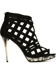 Burberry Prorsum Diamond Cut Out Sandals Black