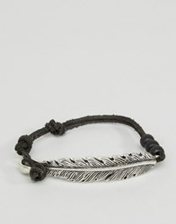 Icon Brand Feather And Suede Bracelet Black
