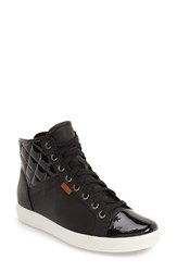 Ecco Women's 'Soft 7' Quilted High Top Sneaker Black Powder Patent Leather
