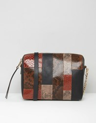 Urbancode Leather Smart Cross Body Bag In Faux Snakskin Mix Rust Snake Brown