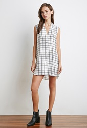 Forever 21 Grid Pattern Shirt White Black
