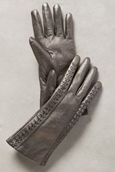Anthropologie Galena Leather Gloves Silver