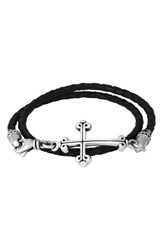 King Baby Studio Men's Braided Leather Cross Bracelet