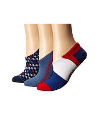 Converse 3 Pack Made For Chucks Mizmerica Navy Multi Women's No Show Socks Shoes Blue