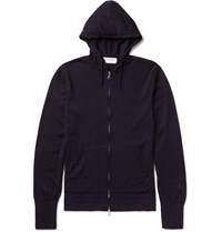 Officine Generale Merino Wool Zip Up Hoodie Navy