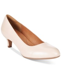 Clarks Artisan Women's Heavenly Shine Kitten Heel Pumps Women's Shoes Nude Leather