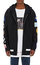 Off White C O Virgil Abloh Men's Patch Embroidered Cotton Fleece Oversized Hoodie Black Navy Black Navy