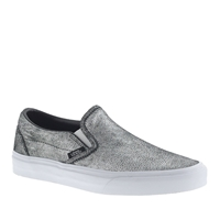 J.Crew Unisex Vans Classic Slip On Sneakers In Metallic Silver Leather