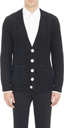 Band Of Outsiders No Bunk No Junk Cable Knit V Neck Cardigan Black Siz