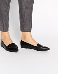 New Look Joan Black Croc Pointed Toe Flat Shoes