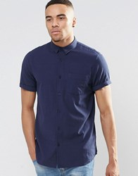 New Look Striped Textured Shirt In Navy In Regular Fit Navy