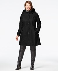 Dkny Plus Size A Line Trench Coat Black