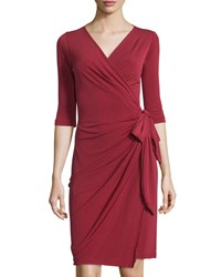 Melissa Masse Half Sleeve Wrap Dress Wine Red