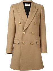 Saint Laurent Double Breasted Buttoned Coat Nude And Neutrals