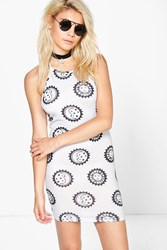 Boohoo Moon And Sun Print Halter Bodycon Dress Grey