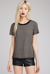 Forever 21 Striped Crew Neck Tee Black Taupe