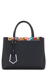 Fendi Petite 2Jours Studded Calfskin Leather Shopper