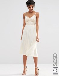 Asos Tall Lace Sequin Bodice Cami Midi Skater Dress Nude