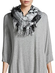 Collection 18 Striped Fringed Scarf Sleet Grey