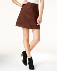 Sanctuary Faux Suede Mod Mini Skirt Rich Chocolate
