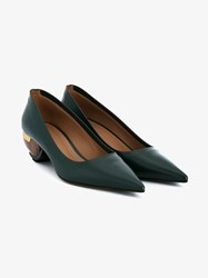 Marni Mid Heel Point Toe Leather Shoes Green Denim