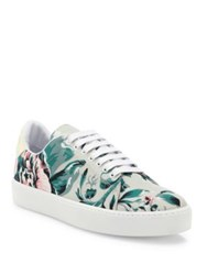Burberry Westford Floral Print Canvas Sneakers Pale Green Apple