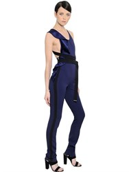 David Koma Satin And Cady Jumpsuit With Ruffle