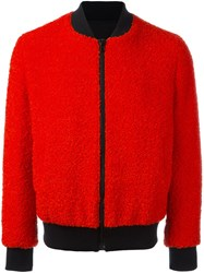 Msgm Contrast Texture Bomber Jacket Red