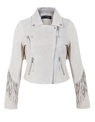 Miss Selfridge Fringed Leather Jacket Brown