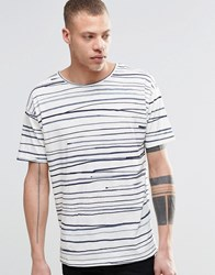 Nudie Jeans Loose T Shirt Rain Stripes Print In Off White Blue Offwhite Blue