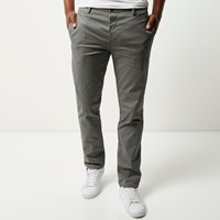 River Island Mens Grey Stretch Slim Chino Trousers