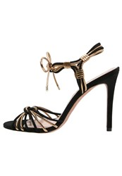 Pura Lopez High Heeled Sandals Black Metal Oro
