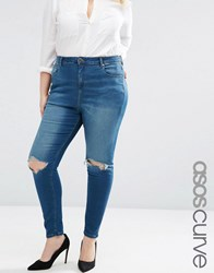 Asos Curve High Waist Ridley Skinny Jeans In Mahogony Dark Wash With Rip Blue