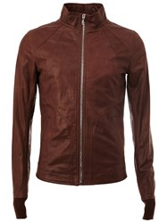 Rick Owens Funnel Neck Jacket Brown