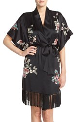 Women's Josie Natori Embroidered Silk Short Robe