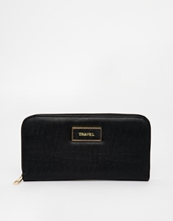 Asos Zip Around Travel Wallet Black